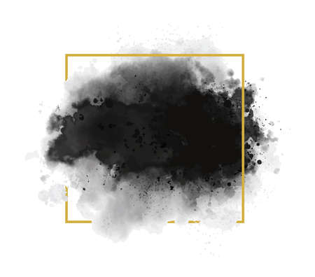 Black watercolor with gold line frame on white background grunge style vector illustration