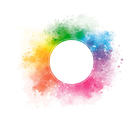 Colorful watercolor with blank circle on white background vector illustration