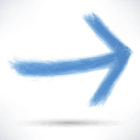 dabs: Blue arrow sign painted by brush stroke with drop shadow on white background.