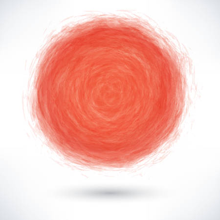 Red brush stroke in the form of a circle with gray drop shadow on white background.