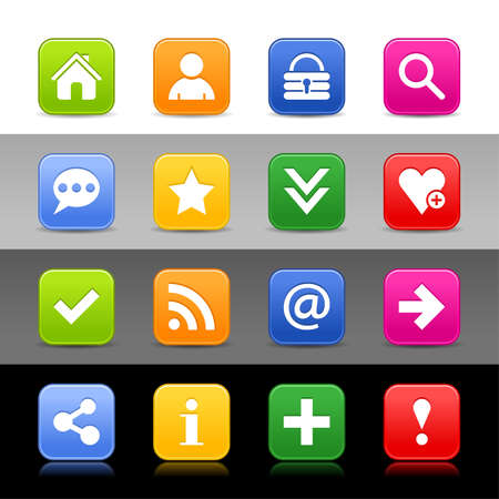 basic shapes: 16 web button with basic sign. Satin series icon. Rounded square shapes with shadow, reflection.