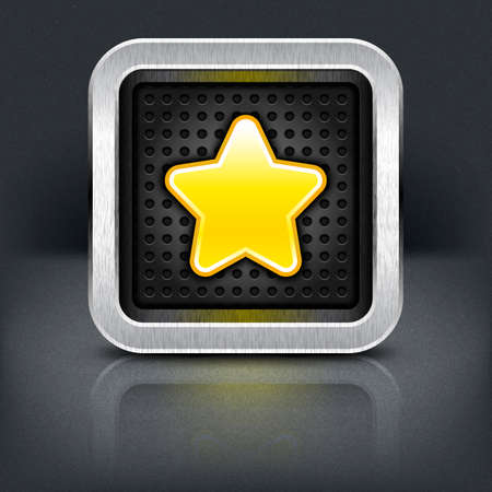 perforation: Yellow gold star icon with chrome metal frame. Rounded square button with perforation texture, black drop shadow and reflection on dark gray background. Illustration
