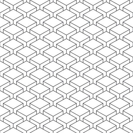 perspectiva lineal: Seamless pattern with 3-D effect cubes in perspective. Linear swatch template surface with repetition geometric shape.