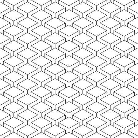 perspectiva lineal: sin patrón, con cubos de efectos 3-D en perspectiva. superficie de la plantilla muestra lineal con forma geométrica repetición. Vectores