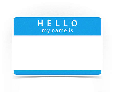 individual color: Blue color name tag blank sticker HELLO my name is with drop gray shadow on white background. Illustration