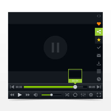 Black media player with video loading bar. Contemporary classic dark style skin. Variation 03 color green .