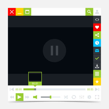 scrollbar: Media player interface with video loading bar and additional movie buttons. Variation 03 green . Simple solid plain flat tile.
