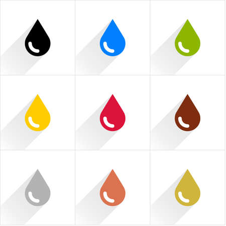 petroleum blue: Drop set petroleum, water, eco, oil, blood, chocolate, silver, copper, gold in simple flat style. Black, blue, green, yellow crimson brown gray colors shapes with shadow on white background
