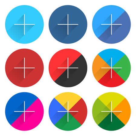 plain button: 9 popular social network web icon set with plus adding sign long shadow. Circle button on white background. New simple flat clean plain tidy solid style. Vector illustration design element