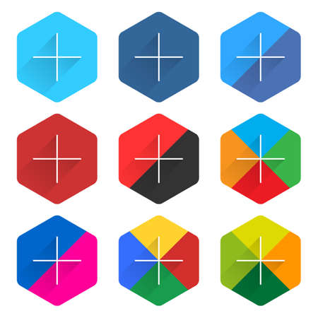9 popular social network web icon set with plus adding sign long shadow. Hexagon button on white background. New simple flat clean plain tidy solid style. Vector illustration design element Illustration