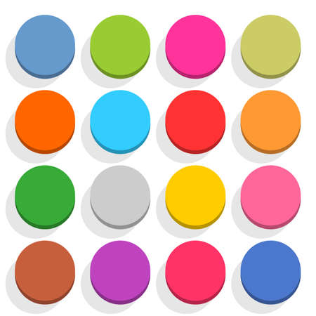 16 blank icon in flat style. ircle 3D button with shadow on white background. Blue, red, yellow, gray, green, pink, orange, brown, violet colors. Vector illustration web design element