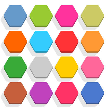 16 blank icon in flat style. Hexagon 3D button with shadow on white background. Blue, red, yellow, gray, green, pink, orange, brown, violet colors. Vector illustration web design element