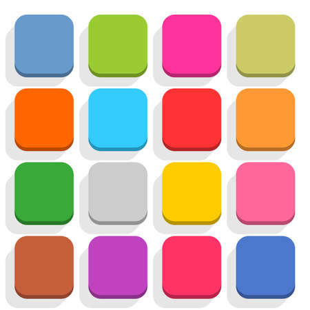 square buttons: 16 blank icon in flat style. Rounded square 3D button with shadow on white background. Blue, red, yellow, gray, green, pink, orange, brown, violet colors. Vector illustration web design