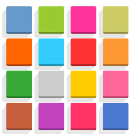 3d button: 16 blank icon in flat style. Square 3D button with shadow on white background. Blue, red, yellow, gray, green, pink, orange, brown, violet colors. Vector illustration web design