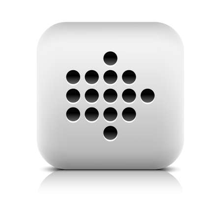 reflection internet: Web icon with digital arrow sign. Series in a stone style. Rounded square button with gray reflection and black shadow on white background. Graphic vector illustration internet design element