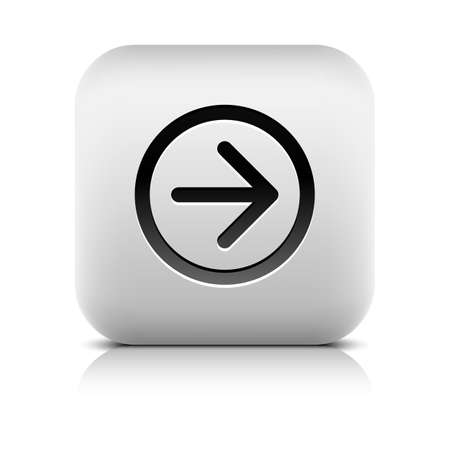 inet: Web icon with black arrow sign. Rounded square button with shadow, reflection on white background. Series in a stone style. Vector illustration graphic clip-art design element