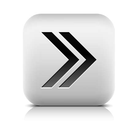 inet symbol: Web icon with arrow sign. Rounded square button with black shadow gray reflection on white background. Series in a stone style. Vector illustration graphic clip-art design element