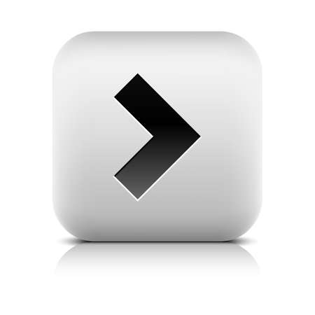 inet symbol: Gray icon with black arrow sign. Series in a stone style. Rounded square button with shadow, reflection on white background. Vector illustration graphic clip-art design element