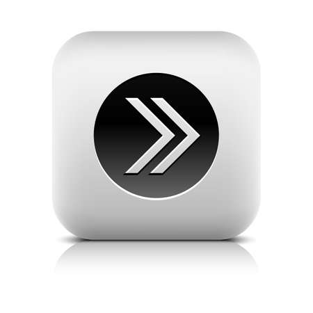 Icon with arrow sign in black circle. Rounded square button with shadow add reflection on white background. Series in a stone style. Vector illustration internet web design element