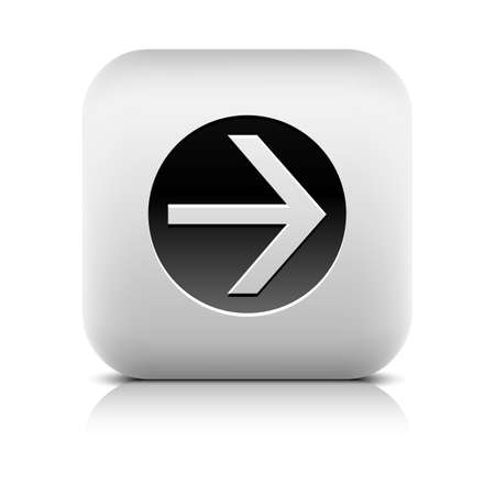 inet symbol: Icon with arrow sign in black circle. Series in a stone style. Rounded square button with shadow add reflection on white background. Vector illustration internet web design element