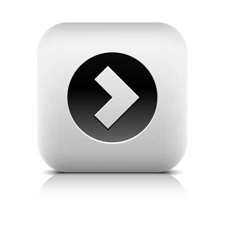 reflection internet: Web Icon with arrow sign in black circle. Rounded square internet button with shadow, reflection on white background. Series in a stone style. Vector illustration design element