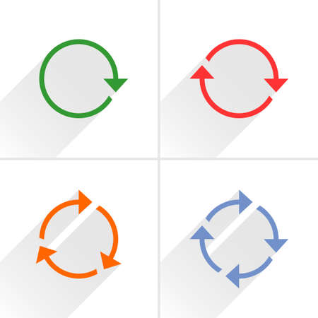 loopable: 4 color arrow loop, refresh, reload, rotation icon. Volume 01. Flat icon with gray long shadow on white background. Simple, solid, plain, minimal style. Vector illustration web design elements
