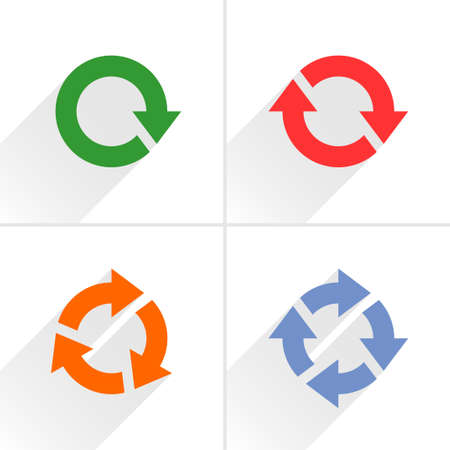 03: 4 color arrow loop, refresh, reload, rotation icon. Volume 03. Flat icon with gray long shadow on white background. Simple, solid, plain, minimal style. Vector illustration web design elements Illustration