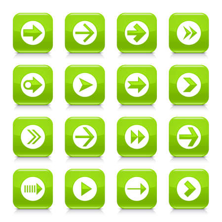 03: 16 arrow icon set 03. White sign on green rounded square button with gray reflection, black shadow on white background. Glossy style. Vector illustration web design element