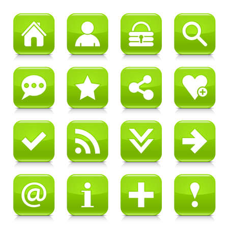 16 basic icon set 05. White sign on green rounded square button with gray reflection, black shadow on white background. Glossy style. Vector illustration web design element Иллюстрация