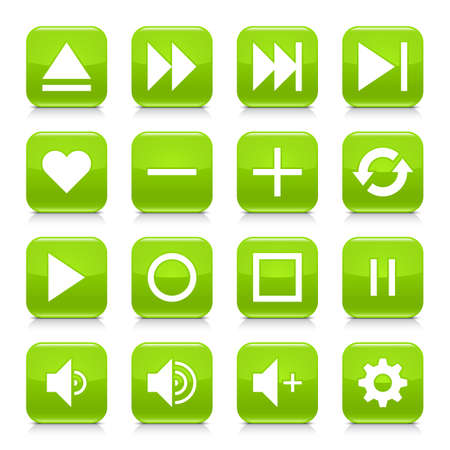 rec: 16 media control icon set 06. White sign on green rounded square button with gray reflection, black shadow on white background. Glossy style. Vector illustration web design element