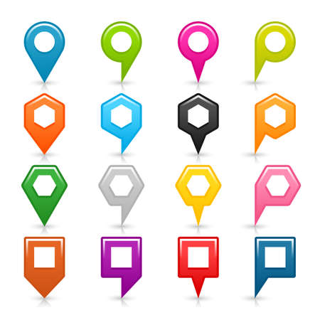 16 map pins sign blank location icon with gray shadow, reflection on white background. Set 01 Blue, green, pink, orange, black, yellow, brown, violet colors shapes. Vector illustration