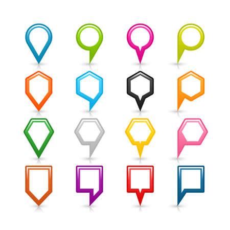 16 blank map pins sign location icon with shadow reflection on white background. Set 05 Blue green pink orange gray black yellow brown violet colors shapes. Vector illustration
