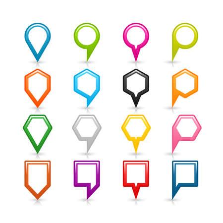 16 icônes de la carte vierge signent l'icône de l'emplacement avec la réflexion de l'ombre sur fond blanc. Set 05 Bleu vert rose orange gris noir jaune marron violet couleurs formes. Illustration vectorielle Illustration