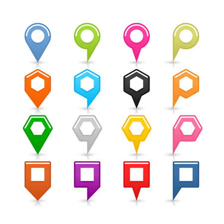 16 blank map pins sign location icon with shadow reflection on white background. Set 01 Blue green pink orange gray black yellow brown violet colors shapes. Vector illustration web design