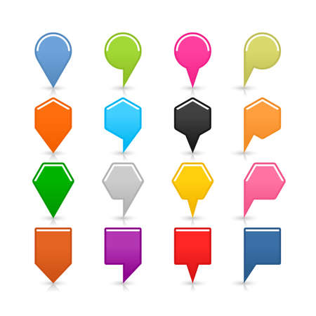 16 blank map pins sign set location icon with shadow reflection on white background. Blue green pink orange gray black yellow brown violet colors shapes. Vector illustration web design element Illustration