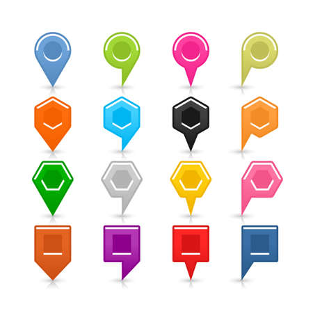 16 blank map pins sign location icon with shadow reflection on white background. Set 02 Blue green pink orange gray black yellow brown violet colors shapes. Illustration