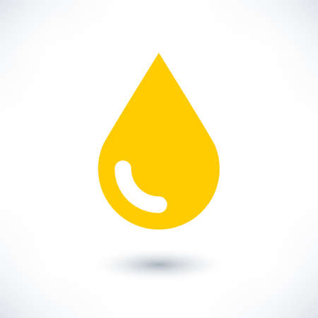 organic fluid: Yellow color drop icon with gray shadow on white background. Gold oil sign in simple, solid, plain, flat style. This vector illustration graphic web design graphic element