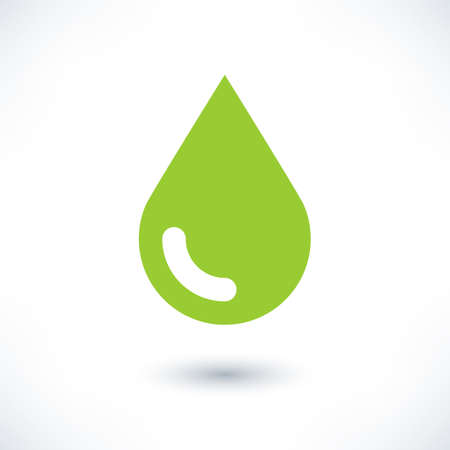 bionomics: Green color drop icon with gray shadow on white background. Ecology sign in simple, solid, plain, flat style. This vector illustration graphic web design graphic element saved in 8 eps Illustration