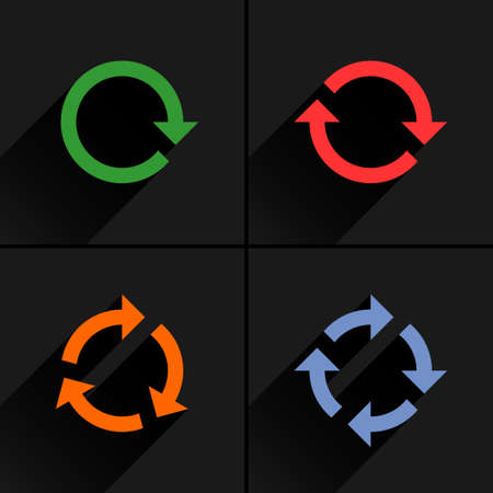 4 color arrow loop, refresh, reload, rotation icon. Volume 02. Flat icon with black long shadow on gray background. Simple, solid, plain, minimal style. Vector illustration web design elements