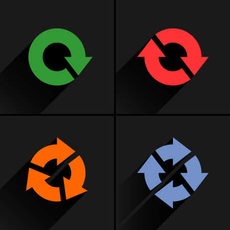 4 color arrow loop, refresh, reload, rotation icon. Volume 04. Flat icon with black long shadow on gray background. Simple, solid, plain, minimal style. Vector illustration web design elements Illustration