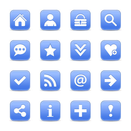 color reflection: 16 blue satin icon with white basic sign on rounded square web button with color reflection on background. This vector illustration internet design element save