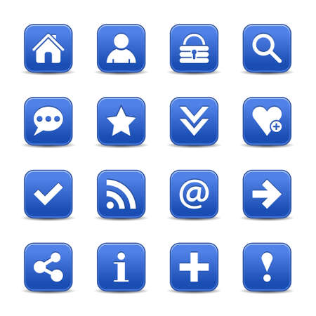 16 blue satin icon with white basic sign on rounded square web button with color reflection on background. This vector illustration internet design element save