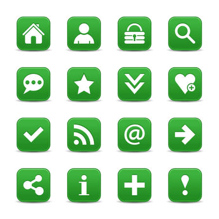 color reflection: 16 green satin icon with white basic sign on rounded square web button with color reflection on background. This vector illustration internet design element save