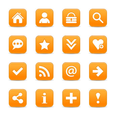 color reflection: 16 orange satin icon with white basic sign on rounded square web button with color reflection on background. This vector illustration internet design element