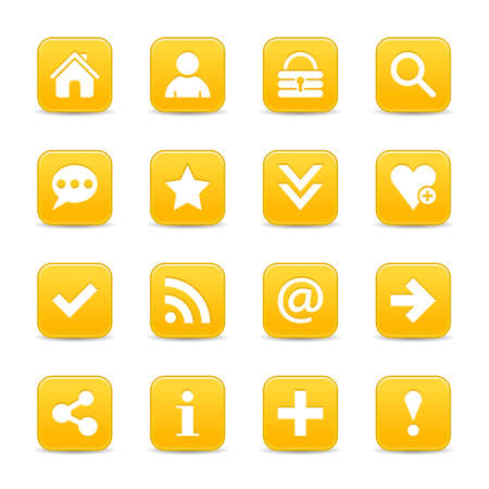 reflection internet: 16 yellow satin icon with white basic sign on rounded square web button with color reflection on background. This vector illustration internet design element Illustration