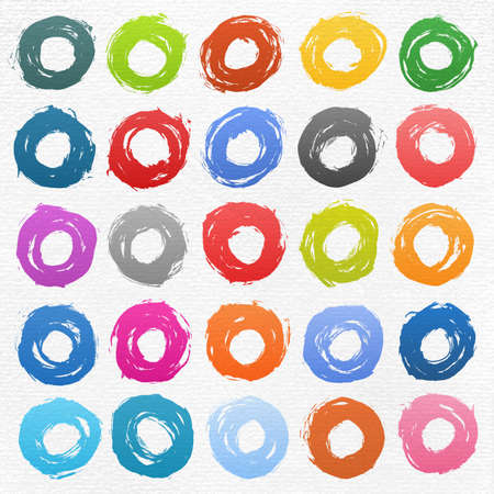25 circle form colored brush stroke. Drawing created in ink sketch handmade technique. Shapes on white watercolor texture paper background. Vector illustration clip-art design element