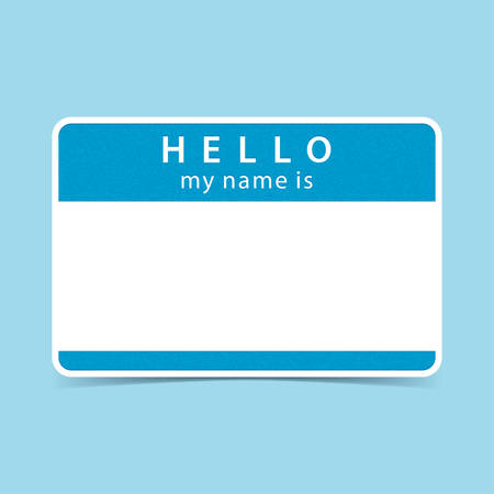 hello my name is: Blue blank name tag sticker HELLO my name is. Rounded rectangular badge with gray drop shadow on color background. Vector illustration clip-art element for design Illustration