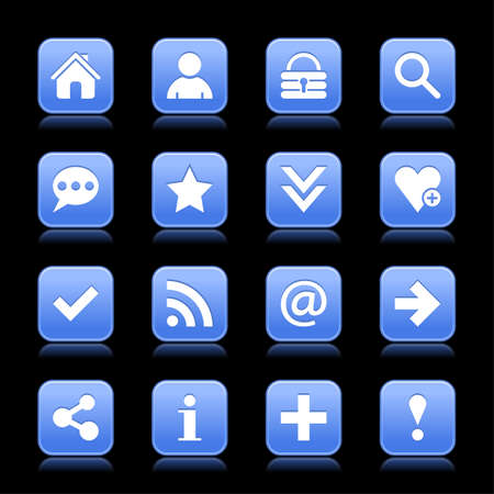 16 blue satin icon with white basic sign on rounded square web button with color reflection on background. This vector illustration internet design element