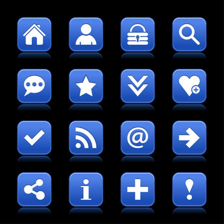 color reflection: 16 blue satin icon with white basic sign on rounded square web button with color reflection on background. This vector illustration internet design element