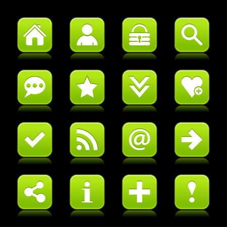 reflection internet: 16 green satin icon with white basic sign on rounded square web button with color reflection on background. This vector illustration internet design element